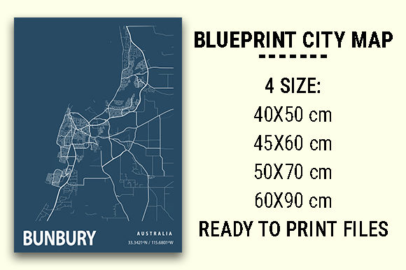 Print on Demand: Bunbury Blueprint City Map Graphic Photos By tienstencil