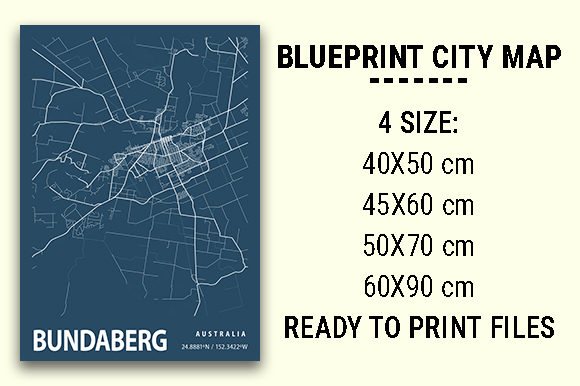 Print on Demand: Bundaberg Blueprint City Map Graphic Photos By tienstencil