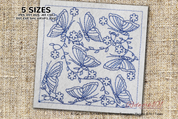 Butterfly Seamless Pattern Redwork Bugs & Insects Embroidery Design By Redwork101