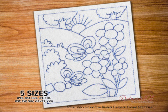 Butterfly in the Garden Redwork Bugs & Insects Embroidery Design By Redwork101