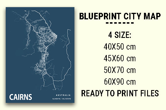 Print on Demand: Cairns Blueprint City Map Graphic Photos By tienstencil