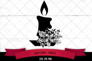 Christmas Candle Floral Graphic Crafts By thesilhouettequeenshop