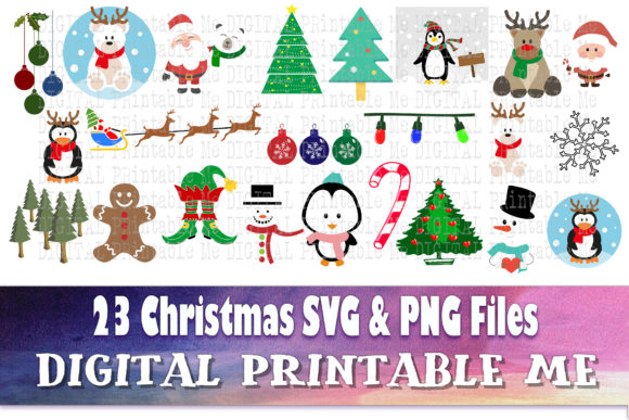 Print on Demand: Christmas Mix Clip Art Holiday Svg Pack Graphic Crafts By DigitalPrintableMe