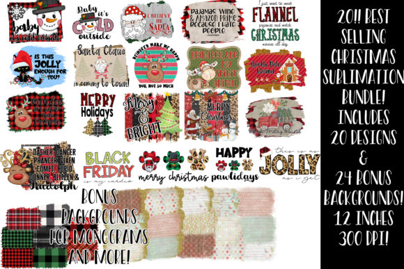 Print on Demand: Christmas Sublimation Bundle Graphic Illustrations By Studio 17 Designs