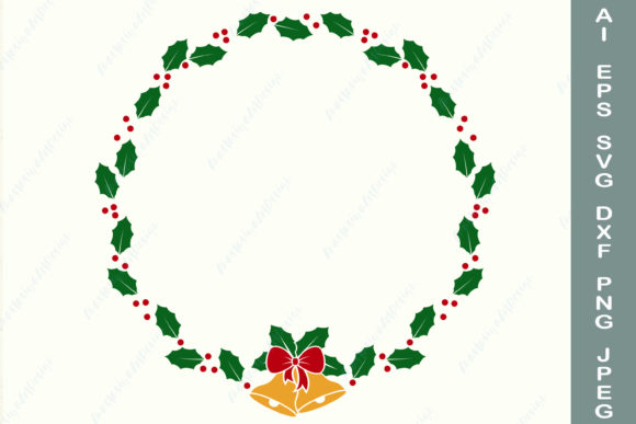 Christmas Wreath with Bell and Bow Graphic Crafts By AnastasiyaArtDesign