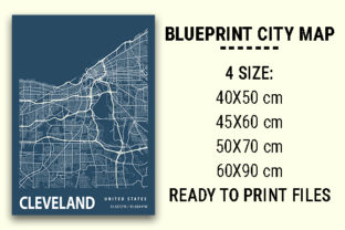 Print on Demand: Cleveland Blueprint City Map Graphic Photos By tienstencil