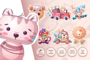 Print on Demand: Cute Animal Sticker and Pattern Graphic Patterns By rwgusev