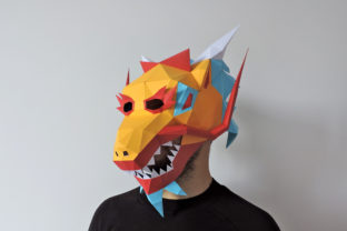 DIY Chinese Dragon Mask - 3d Papercraft Graphic 3D SVG By paperamaze