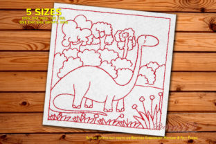 Dinosaur with Long Neck in Jungle Dinosaurs Embroidery Design By Redwork101 1