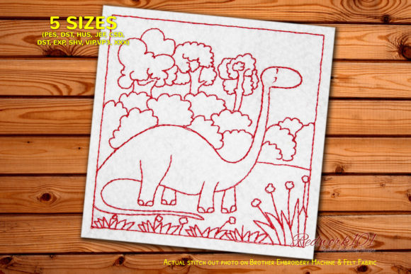 Dinosaur with Long Neck in Jungle Dinosaurs Embroidery Design By Redwork101