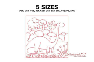 Dinosaur with Long Neck in Jungle Dinosaurs Embroidery Design By Redwork101 2