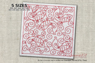 Fish Pattern Design Redwork Paisley Embroidery Design By Redwork101