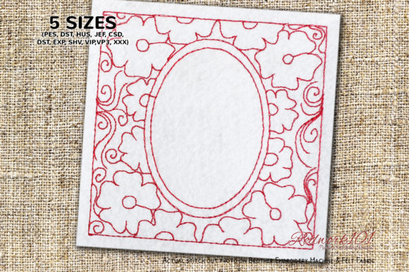 Frame Made by Flower Redwork Floral Wreaths Embroidery Design By Redwork101