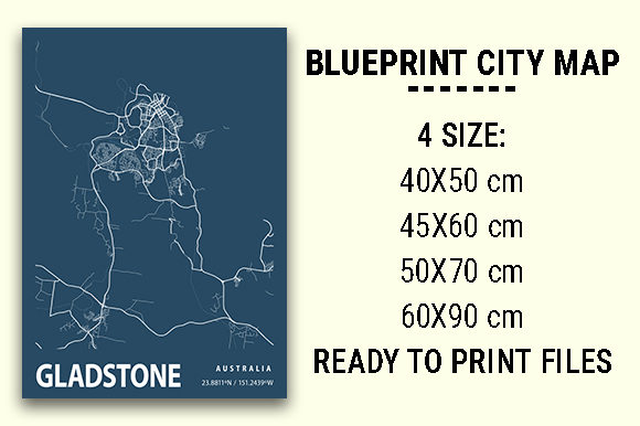 Print on Demand: Gladstone Blueprint City Map Graphic Photos By tienstencil