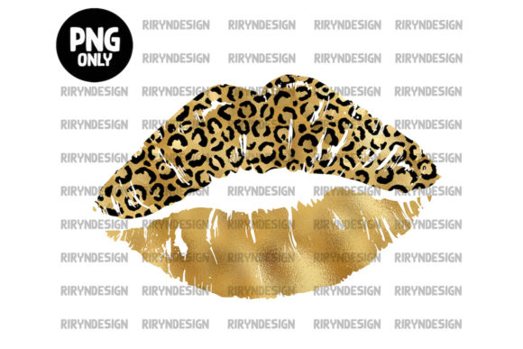 Gold Leopard Lip Sublimation Design Graphic Icons By riryndesign