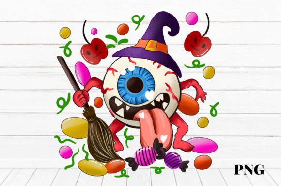 Print on Demand: Halloween Eyeball Monster Candy Graphic Illustrations By Suda Digital Art