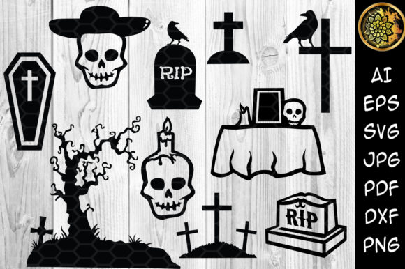 Halloween Graveyard Silhouette Graphic Illustrations By V-Design Creator