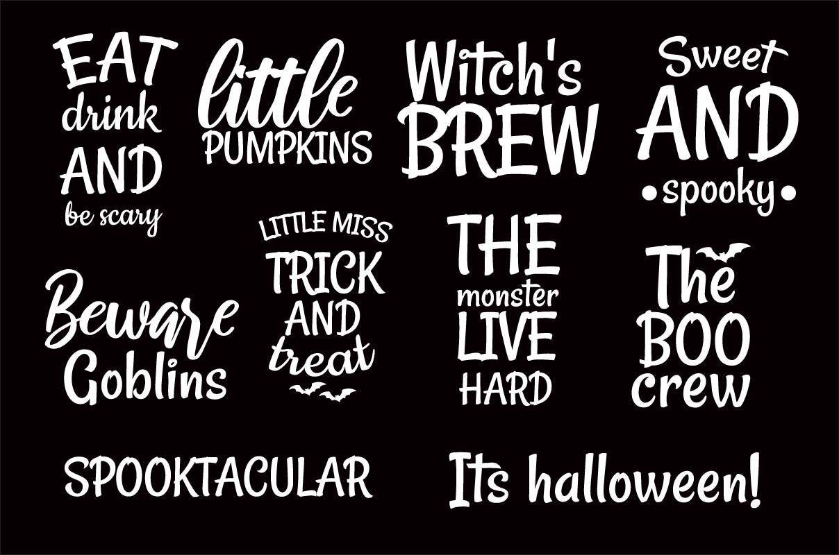 Free Download Halloween Quotes Clipart Bundle
