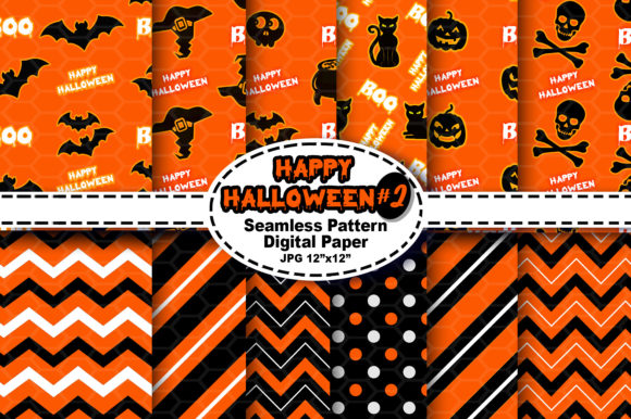 Print on Demand: Halloween Seamless Digital Pattern #2 Graphic Patterns By V-Design Creator