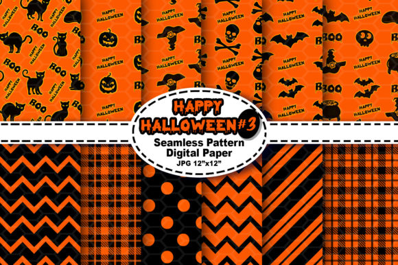 Print on Demand: Halloween Seamless Digital Pattern #3 Graphic Patterns By V-Design Creator