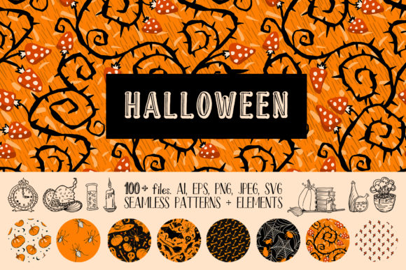 Halloween Seamless Patterns and Vector D Graphic Illustrations By ilonitta.r
