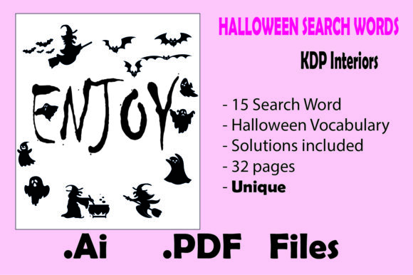 Halloween Search Word for Kids N Adults Graphic KDP Interiors By KDP_Interior_101