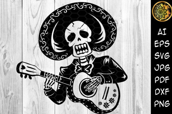 Halloween Skeleton Playing Guitar Graphic Illustrations By V-Design Creator
