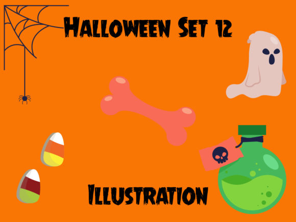 Halloween Vector Bundle Set for Kids 12 Graphic Illustrations By vijackstudio