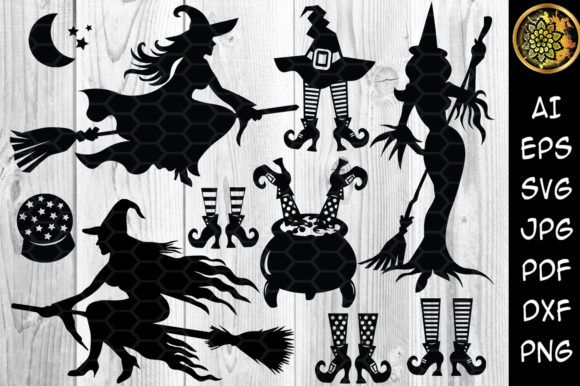 Halloween Witch SVG Sihouette Clip Art Graphic Illustrations By V-Design Creator - Image 1