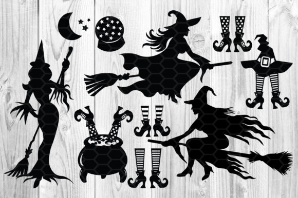Halloween Witch SVG Sihouette Clip Art Graphic Illustrations By V-Design Creator - Image 2