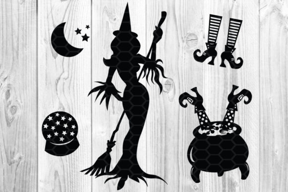 Halloween Witch SVG Sihouette Clip Art Graphic Illustrations By V-Design Creator - Image 3