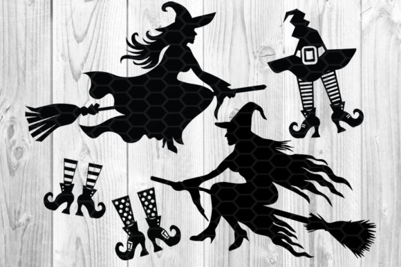 Halloween Witch SVG Sihouette Clip Art Graphic Illustrations By V-Design Creator - Image 4