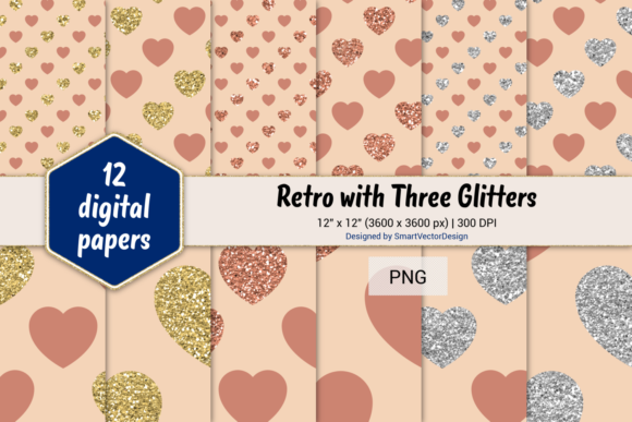 Print on Demand: Hearts Retro W 3 Glitters #26 Graphic Backgrounds By SmartVectorDesign
