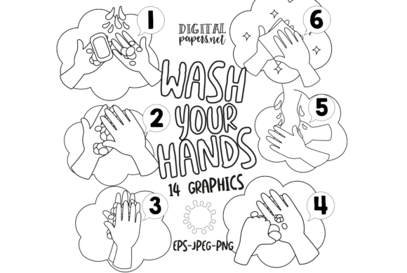 Print on Demand: How to Wash Your Hands - Outlines Graphic Illustrations By DigitalPapers