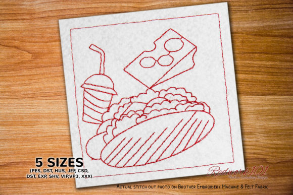 Humberger with Hot Dog and Drink Food & Dining Embroidery Design By Redwork101