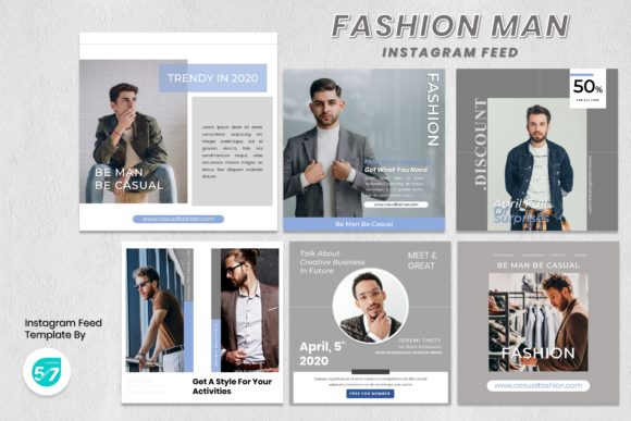 Instagram Feed Template - Fashion Man Graphic Presentation Templates By 57creative