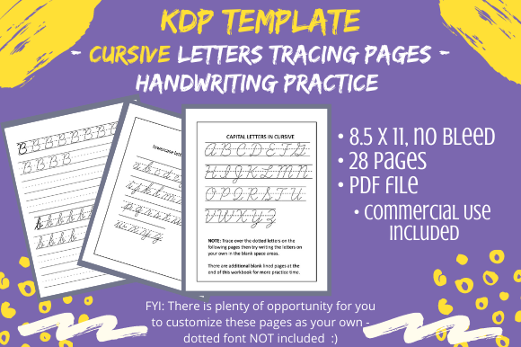 KDP Cursive Handwriting Letters Practice Graphic By Tomboy Designs ·  Creative Fabrica
