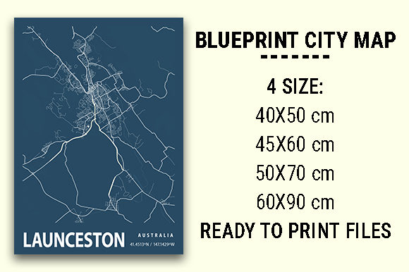 Print on Demand: Launceston Blueprint City Map Graphic Photos By tienstencil