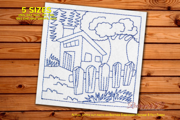 Old House with Tree Farm & Country Embroidery Design By Redwork101