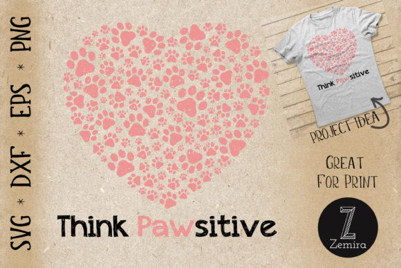 Print on Demand: Paw Heart Dog Lover Pet Lover Gift Black Graphic Print Templates By Zemira