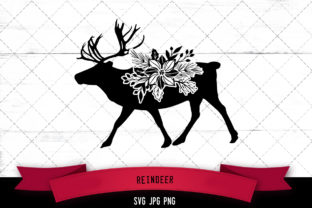 Reindeer 2 Floral Graphic Crafts By thesilhouettequeenshop