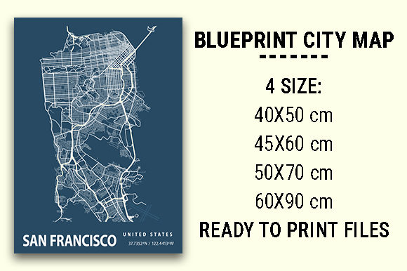 Print on Demand: San Francisco Blueprint City Map Graphic Photos By tienstencil