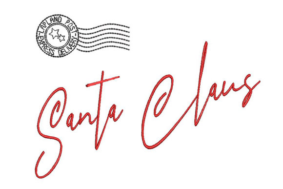 Print on Demand: Santa Signature and Stamp Christmas Embroidery Design By Embroidery Shelter