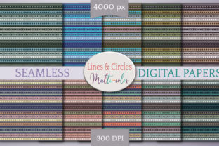Print on Demand: Seamless Lines & Circles Digital Paper Graphic Backgrounds By Digital Town