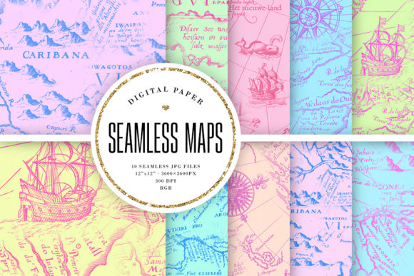 Print on Demand: Seamless Pastel Vintage Maps Backgrounds Graphic Backgrounds By Sabina Leja