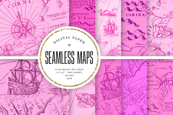 Print on Demand: Seamless Pink Maps Digital Paper Graphic Backgrounds By Sabina Leja