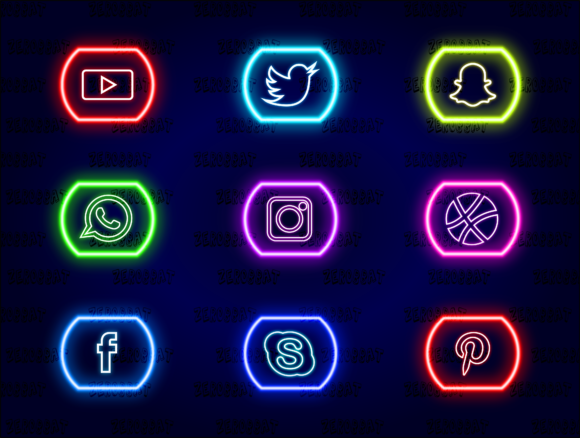 Print on Demand: Social Media Neon Icons Vector Set 02 Graphic Web Elements By zerobbat