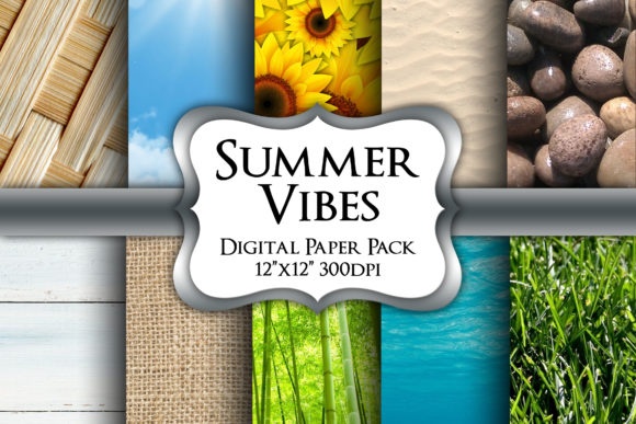 Print on Demand: Summer Vibes Digital Paper Pack Graphic Backgrounds By Party Pixelz