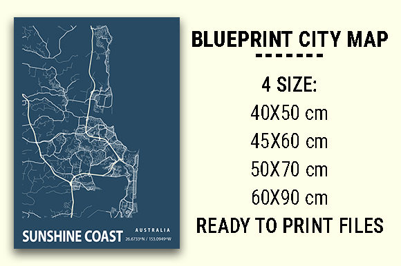 Print on Demand: Sunshine Coast Blueprint City Map Graphic Photos By tienstencil