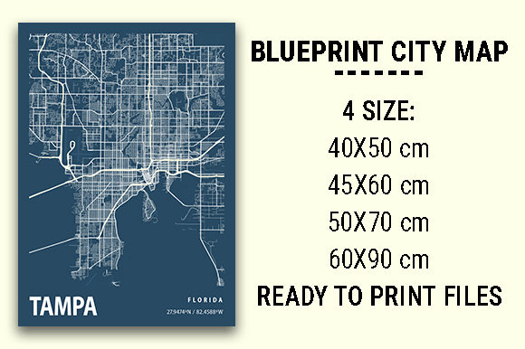 Print on Demand: Tampa Blueprint City Map Graphic Photos By tienstencil